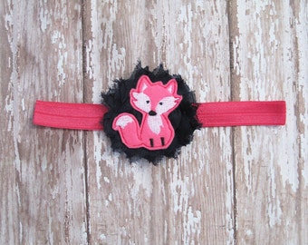 Fox Headband | Navy and Hot Pink Fox Headband | Newborn-Adult
