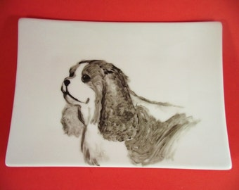 Hand painted Cavalier King Charles Spaniel art on sushi plate