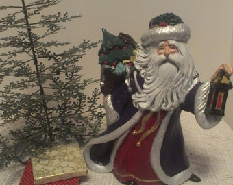 Wonderful 10 Inch Ceramic Hand Painted Old World Santa Claus in Purple