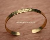 Hammered Brass Cuff Bracelet - Gold Brass Cuff - Nu Gold Brass - Gold Alternative - Brass Bracelet - Skinny Cuff - Hammered Cuff