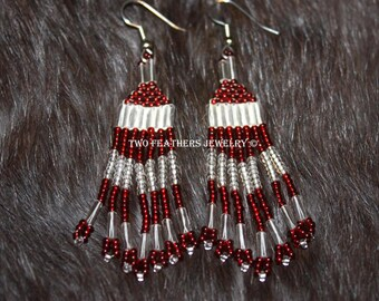 Native American Style Hand Beaded Earrings - Tribal Style - Red And Clear Fringe Earrings - Boho - Hippie - Two Feathers Jewelry -