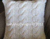 Chunky Triple Rope Cable hand knit 18x18 pillow cover