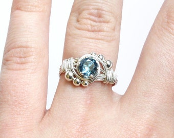 Wire Wrapped Birthstone Ring - Sterling Silver and CHOICE of Faceted Gemstone - Custom Size Made to Order