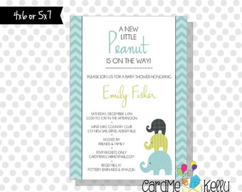 Printable Pink or Blue Elephant Jungle Stacked Baby Shower Invitation - Digital File