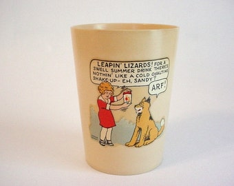 Child's Vintage Plastic Cup- LITTLE ORPHAN ANNIE & Sandy the Dog for Ovaltine