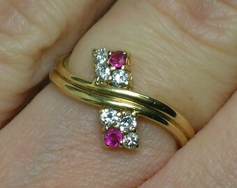 Diamond & Ruby Band Ring, 585 14K Gold Retro Modern Style, 1990s
