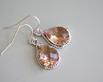 Blush Earrings, Peach Earrings, Blush Wedding, Peach Wedding Bridesmaids Earrings Silver Earrings Girlfriend Gifts Best Friend Birthday Gift