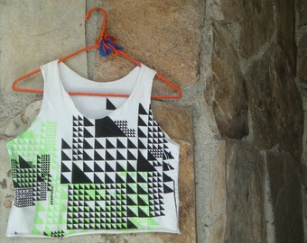 TRIANGLE CROP TOP graphic tank t-shirt neon op art S
