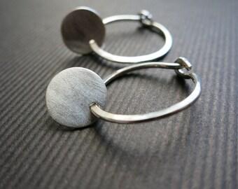 """Silver Hoop Earrings and Matte Discs 5/8""""D Hoops"""