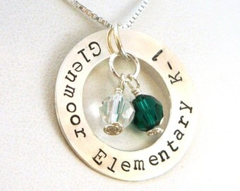 You Pick the School You Pick the Colors Sterling Silver Hand Stamped Necklace | School Necklace | School Pride Necklace