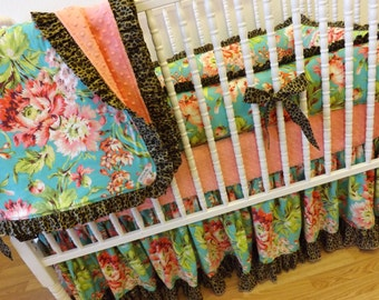 Made To Order-- Crib Bedding-  4 piece Girl Crib Bedding-- Bliss Bouquet
