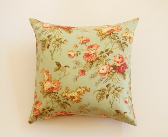 Decorative Floral Pillow Covers : Floral Print Pillows Teal Decorative Pillow by JacqueAnnDecor