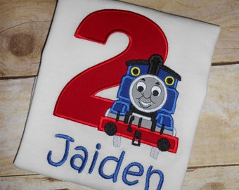 Custom Boutique Thomas Train Birthday Applique t-shirt or bodysuit for boys or girls - machine embroidered - personalized