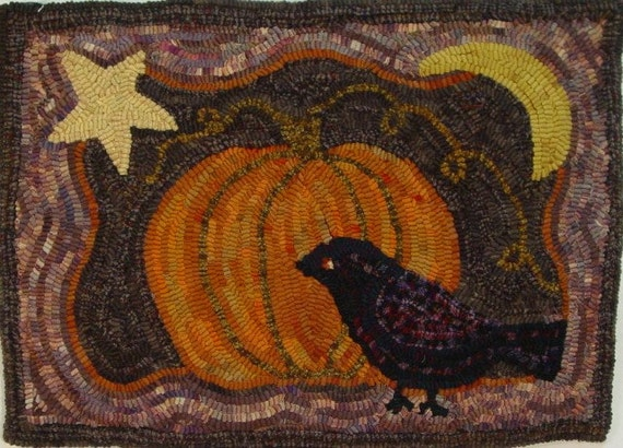 "Rug Hooking PATTERN, Crow and Pumpkin, 14"" x 20"", J710, Halloween Pattern, Autumn Rug Hooking"