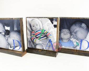 PERSONALIZED PHOTO GIFTS-Great Fathers Day Gifts for Dad,Pop,Mom- Personalized wooden photo blocks-Great Christmas Gifts