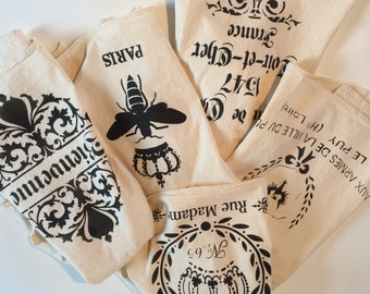 Five Designs to choose from -  Flour Sack Natural Towel - Measures approx 30x30