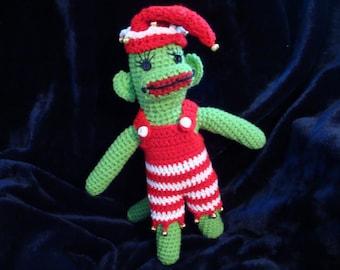 """18"""" Crochet Green Sock Monkey"""