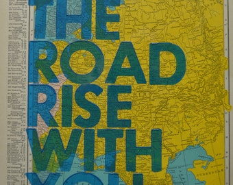 Finland and Soviet Union/  May The Road Rise With You/ Letterpress Print on Antique Atlas Page