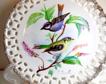 Birds on Porcelain Reticulated Plate - Hand Painted by T. Tanabe