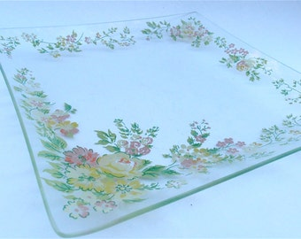 Vintage Floral Clear Glass Square Serving Tray Mauve Yellow Green Flowers Appetizer Relish Dish Nut Candy Platter Veggie Salsa Bloom Plate
