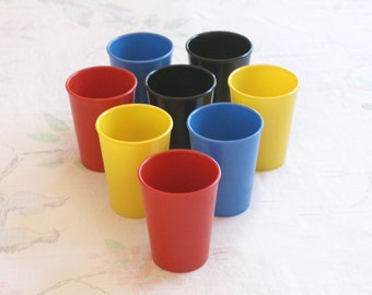 8pc 1950s Vintage Melamine Melmac Cafeteria Tumblers Drinking Cups - Multicolored Heavy duty in original tube - Black Yellow Red Blue