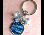 SWIM MOM Bezel Pendant Necklace Or Key Chain. Five Styles To Choose From