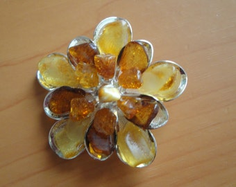 Authentic Baltic Amber Brooch Multicolored Amber