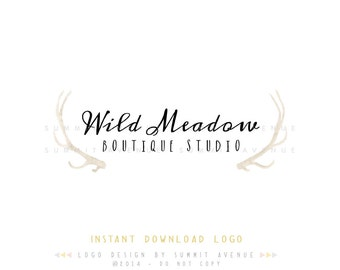 Watercolor Antlers Premade INSTANT DOWNLOAD Logo Design for Photography or Boutique by Summit Avenue