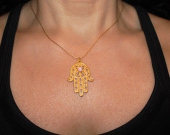 Hamsa necklace, Charm necklace, evil eye jewelry, gold hamsa charm, hamsa charm necklace, gold hamsa