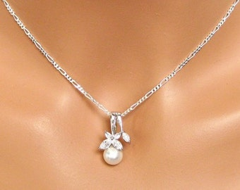 Pearl Drop Wedding Necklace. Cubic Zirconia Bridal Pendant. Bridal Necklace. Crystal Wedding Pendant. Bridesmaids Jewelry