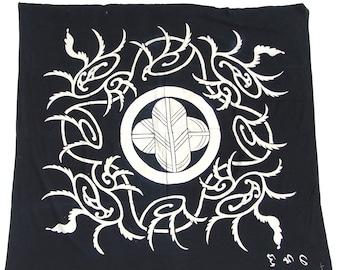 SALE 25% OFF Large Indigo Japanese Textile. Antique Furoshiki Wrapping Cloth. Aizome Folk Textile with Tsutsugaki Kamon (Shop Ref: 855)