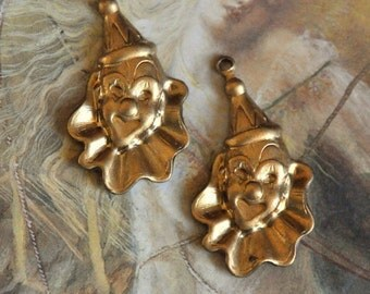 2 Vintage Old Brass Circus Clown Charms