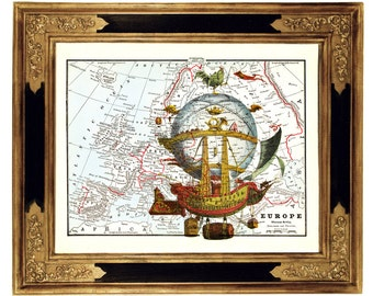 LIMITED Airship Balloon on Vintage Victorian Map Art Print Steampunk