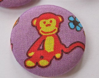 SALE Purple Red Monkey Buttons Lot of 3 SALE