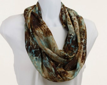 Rich Watercolor Silky Infinity Scarf - Floral Damask - Earth Tones ~ SK176-L1