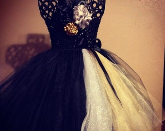 Elegant Couture Flower Girl Tutu Dress/ New Years Eve Dress/Holiday Events/ Great for Pageants too