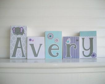 Baby Name Blocks . Nursery Name Blocks . Purple . Aqua. Nursery Decor . Baby Letter Blocks . Dahlia Bedding . Wood Name Blocks