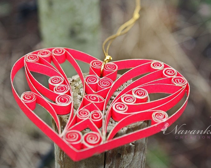 Forever Yours - Paper Quilling Heart in a gift box for Valentines Day, Paper Quilled Heart Ornament , Red and Gold Heart , paper anniversary