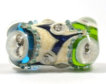 Large Green, Blue and Ivory Lampwork Focal Glass Bead