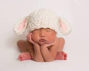 Baby Lamb Hat Crochet Newborn Photo Prop, Easter or Halloween