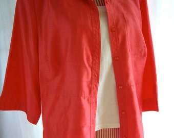 Vintage faux silk womens plus size shirt jacket 1988