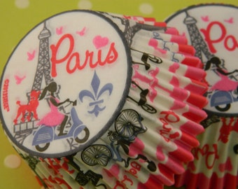 Paris Cupcake Liners / Baking Cups /