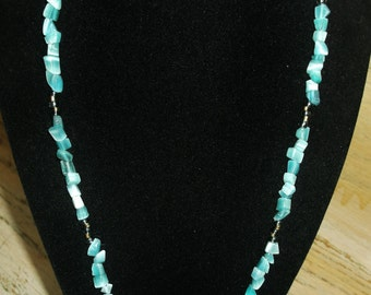 Handmade Beaded Cross Chain Aqua Teal Seafoam Stone Chips Beach Wedding Gift Idea for Her Birthday Christmas Clergy
