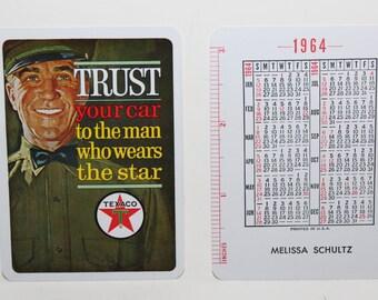 1964 Texaco Playing Card Style Wallet Calendar