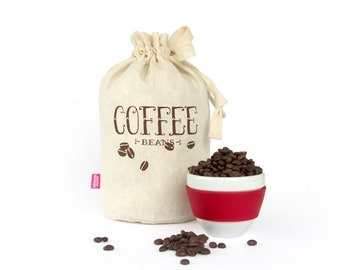 COFFEE BEANS: Handmade reusable eco storage bag. Hemp Organic Cotton cloth tote bag. Kitchen storage.