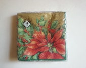 vintage paper napkins . holly berry flowers .  holiday Christmas napkins . Made in Germany . Christmas paper . craft supplies