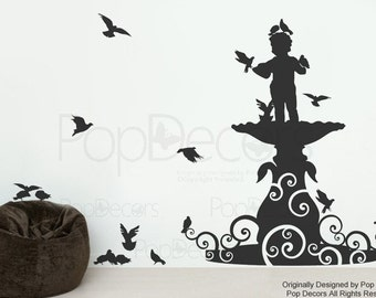Modern Wall Decal Custom Removable Vinyl Wall Art - Boy Statue and Pigeons - Free Squeegee - Living Room Playroom Wall Mural Modern Wall Art