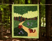 Chipmunk Baby Quilt- Woodland and Acorns- Cotton Applique