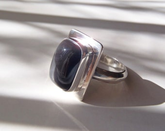 Obsidian & Sterling Silver Ring Size 11 New Handcrafted Jewelry Black California Obsidian Subtle Rainbow Effect Rectangular Cabochon Large
