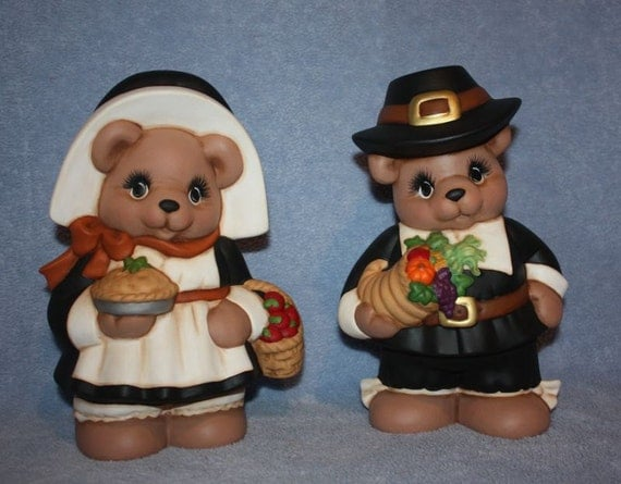 Hand-painted Ceramic Pilgrim Bears by and girl set with cornucopia, fruit basket and pie